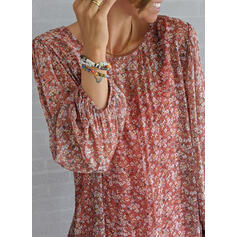 Print/Floral Long Sleeves Shift Tunic Casual Midi Dresses