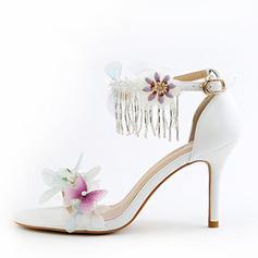 Women's Leatherette Stiletto Heel Peep Toe Pumps Sandals With Flower Tassel