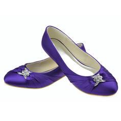 Frauen Satin Flascher Absatz Geschlossene Zehe Flache Schuhe mit Strass
