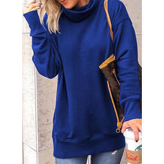 Solid High Neck Long Sleeves Sweatshirt