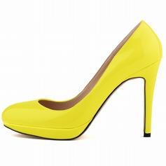 Femmes Cuir verni Talon stiletto Escarpins Plateforme Bout fermé chaussures