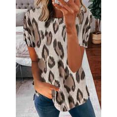leopard Kulatý Výstřih Krátké rukávy Tricouri