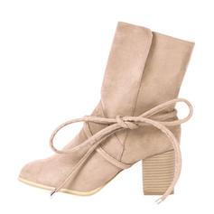 Femmes Suède Talon bottier Escarpins Bottes Bottes mi-mollets avec Dentelle chaussures