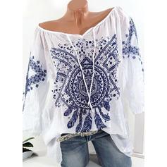 Trykk V-hals Trekvart ermer Casual T-skjorter