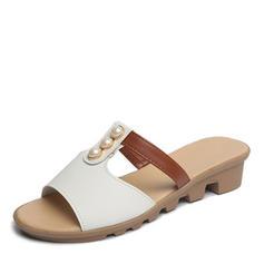 Women's Leatherette Flat Heel Sandals Flats Peep Toe Slingbacks Slippers With Imitation Pearl shoes