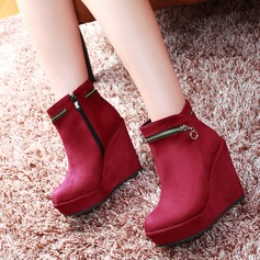 Women's Suede Wedge Heel Platform Wedges Ankle Boots With Zipper shoes