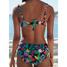 Floral Leaves Print Strap Elegant Bohemian Bikinis Swimsuits