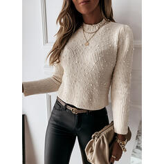 Solid Beaded Round Neck Casual Sweaters