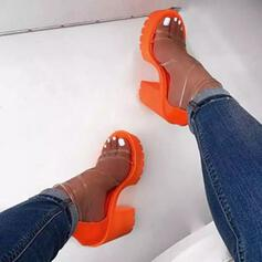 Naisten PU Chunky heel Avokkaat Platform Peep toe jossa Vetoketju läpinäkyvä kengät