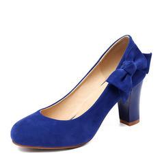 De mujer Ante Tacón ancho Salón Cerrados con Bowknot zapatos