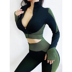 Long Sleeves Color Block Top & Pant Sets Yoga Sets