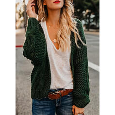 Solid Cable-knit Casual Cardigan