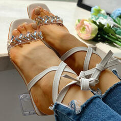 Donna PU Tacco spesso Sandalo Punta aperta con Strass Bowknot scarpe