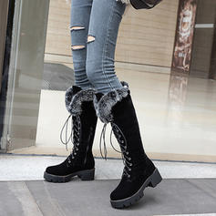 Women's Suede Chunky Heel Knee High Boots Snow Boots With Lace-up shoes