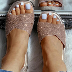 Femmes PVC Talon plat Chaussons avec Pailletes scintillantes chaussures