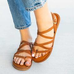 Femmes PU Talon plat Sandales Chaussures plates avec Ouvertes Couleur unie chaussures