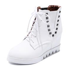 Dla kobiet Skóra ekologiczna Niski Obcas Platforma Kozaki Z Sznurowanie obuwie