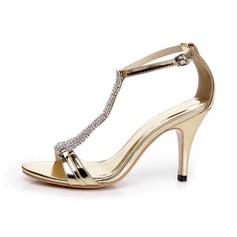 Donna Pelle verniciata Tacco a spillo Sandalo Stiletto con Strass Fibbia scarpe
