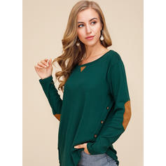 Color Block Round Neck Long Sleeves Button Up Casual Knit Blouses
