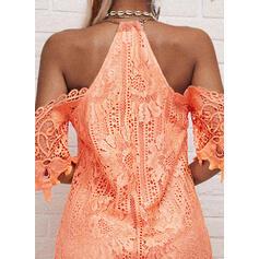 Solid Lace 1/2 Sleeves Shift Above Knee Elegant Dresses