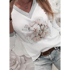 Blomster Print V-hals Lange ærmer T-shirts