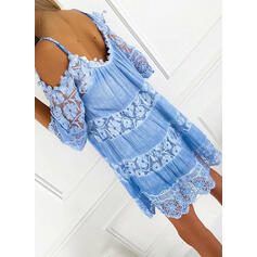 Lace/Solid 3/4 Sleeves/Cold Shoulder Sleeve Shift Above Knee Casual/Vacation Tunic Dresses