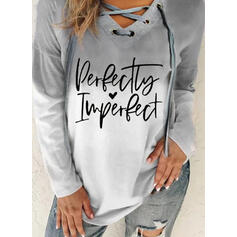 Print Gradient Heart Letter V-Neck Long Sleeves Sweatshirt