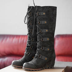 Women's PU Wedge Heel Knee High Boots Riding Boots With Rivet Lace-up shoes