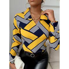 Print Lapel Long Sleeves Elegant Blouses