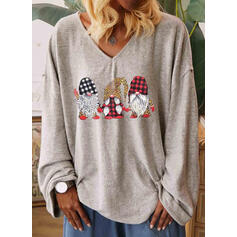 Print Leopard V-Neck Long Sleeves Casual Christmas T-shirts