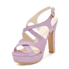 Női Csillám Chunky sarok Szandál Magassarkú Emelvény Peep Toe Zárt szandál -Val Csat cipő