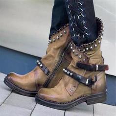 Femmes PU Talon bas Bottes avec Rivet Boucle chaussures