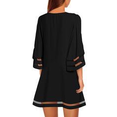 Couleur Unie Manches 1/2 Droite Au-dessus Du Genou Petites Robes Noires/Décontractée Robes
