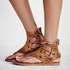 Femmes PVC Talon plat Sandales Chaussures plates À bout ouvert avec Zip Dentelle chaussures