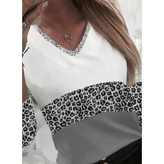 Color Block luipaard pailletten V-hals Lange Mouwen T-shirts