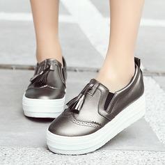 Femmes Similicuir Talon plat Chaussures plates Bout fermé avec Tassel chaussures