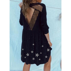 Lace/Print/Backless Long Sleeves Shift Knee Length Casual Tunic Dresses