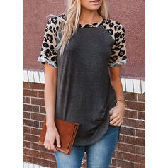 Print Leopard Round Neck Short Sleeves Casual T-shirts