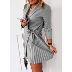 Solid Long Sleeves Sheath Above Knee Little Black/Casual/Elegant Wrap Dresses