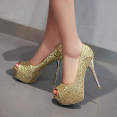 Women's Sparkling Glitter Stiletto Heel Pumps Platform Peep Toe With Sparkling Glitter shoes