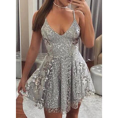 Print Sleeveless A-line Above Knee Sexy/Party Dresses