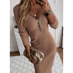Einfarbig V-Ausschnitt Freizeit Lang Eng Pulloverkleid