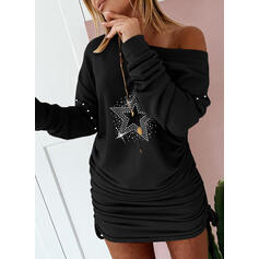 Sequins Long Sleeves Bodycon Above Knee Casual Sweatshirt Dresses