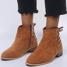 Femmes PU Talon bas Escarpins Bout fermé Bottes Bottines avec Zip chaussures