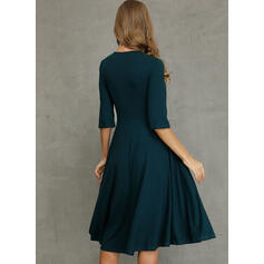 Solid 1/2 Sleeves A-line Knee Length Casual/Elegant Skater Dresses