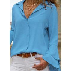 Solido Risvolto Flare Sleeve Maniche lunghe Bottone Elegante Shirt and Blouses