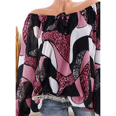 Print Leopard Round Neck Long Sleeves Casual Blouses
