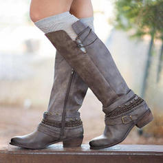 Women's Leatherette Chunky Heel Knee High Boots With Buckle Zipper shoes