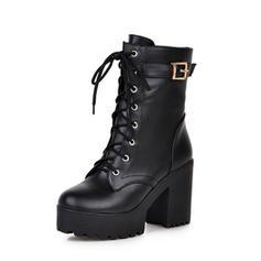 Femmes PU Talon bottier Escarpins Bottes Bottes mi-mollets avec Dentelle chaussures