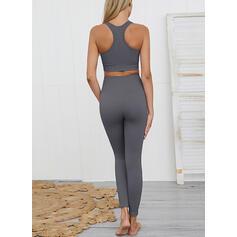 U-Neck Sleeveless Solid Color Sports Leggings Sports Bras